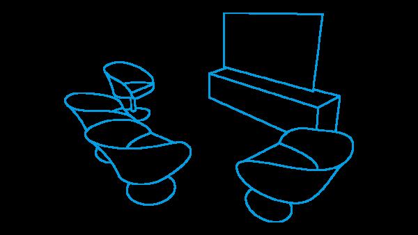 stilisierte Beratungslounge mit vier Sitzplätzen und einem Bildschirm