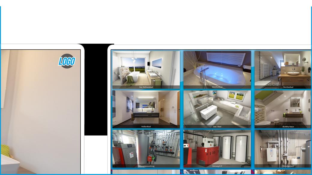 Beispiel eigenes Design und eigenes Logo im 3D-Showroom