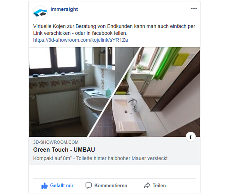 Virtuelle Kojen via Facebook teilen