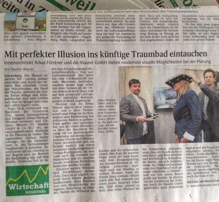 Zeitungsartikel, Badplanung Maurer Förstner Schramberg