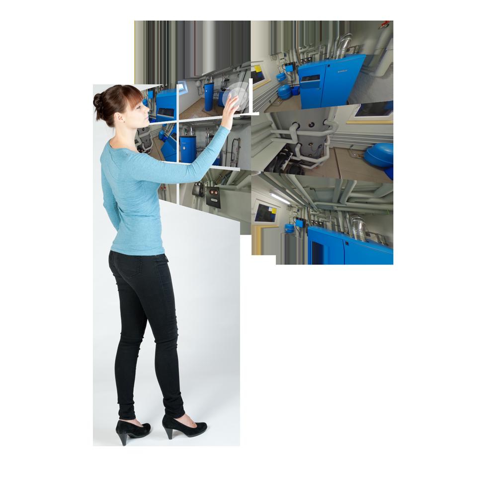 Virtuelle Ausstellung für Heizungen mit Touchscreen bedienen