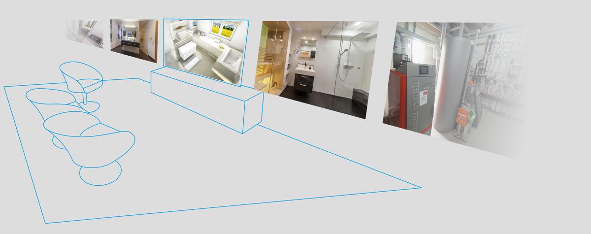Stilisiert Beratungslounge mit Digitaler Ausstellung