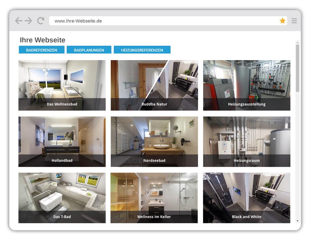 Beispiel Webshowroom Virtuelle Badausstellung, Heizungsausstellung