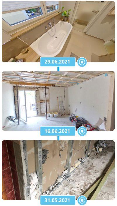 Zeitlinie Virtuelle Baustelle Sauna und Bad