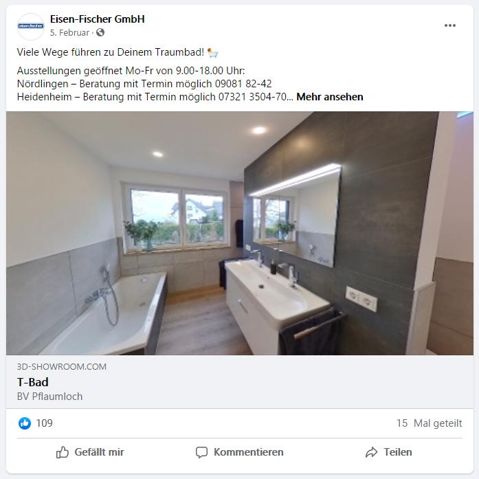 Virtuelle Koje bei facebook posten